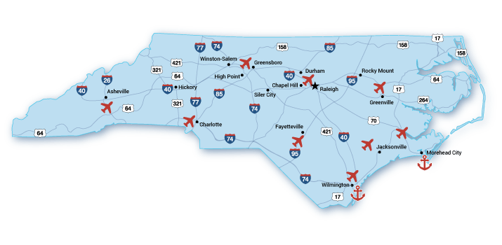 Infrastructure Economic Development Partnership Of North Carolina - Us map of major airports