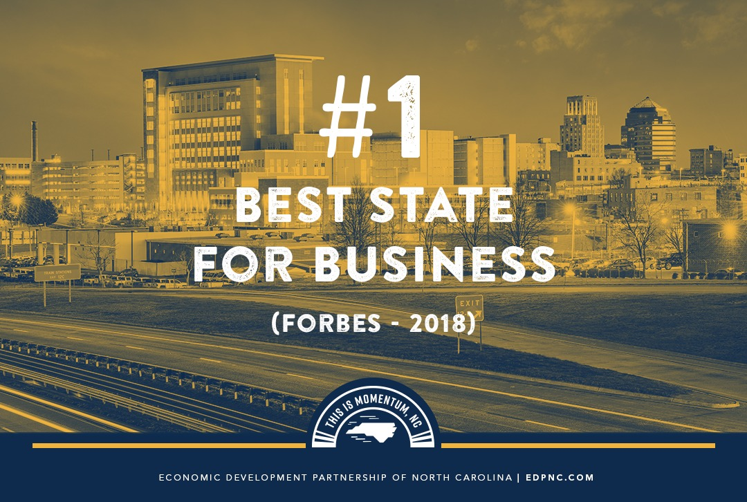 Forbes Again Ranks North Carolina as Best State for Business in the U.S.